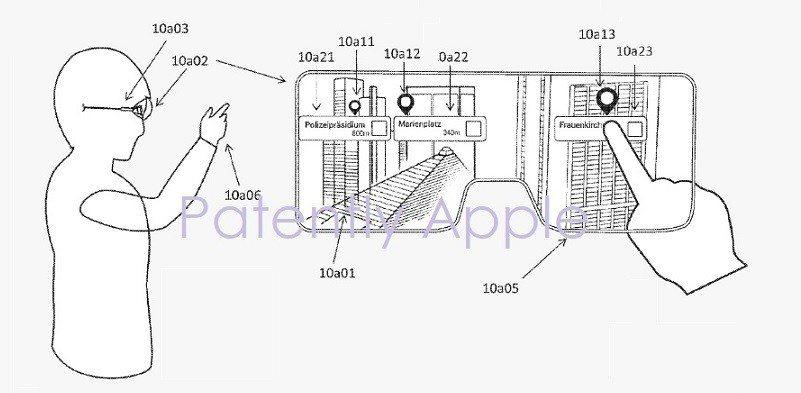 蘋果設計一套系統,可讓虛擬訊息呈現在智慧眼鏡或是頭戴裝置的顯示器上,讓使用者達到...