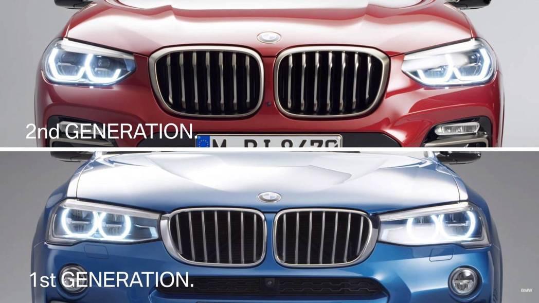 新世代X4的頭燈,並未與水箱護罩相連。 摘自BMW影片