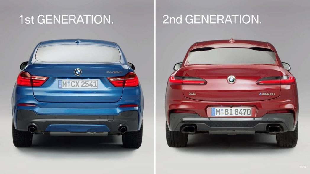 兩代X4車尾造型非常不同。 摘自BMW影片