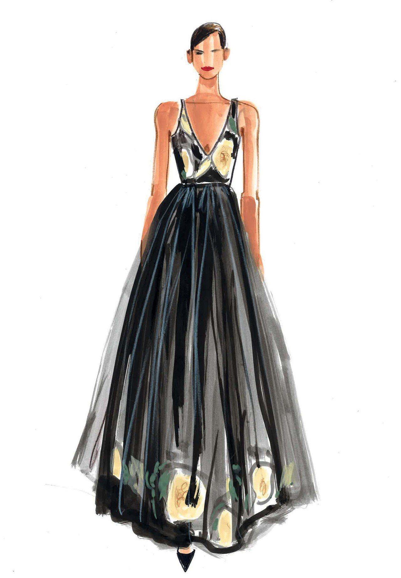 林志玲H&M柑橘纖維訂製款禮服手稿。圖/H&M提供