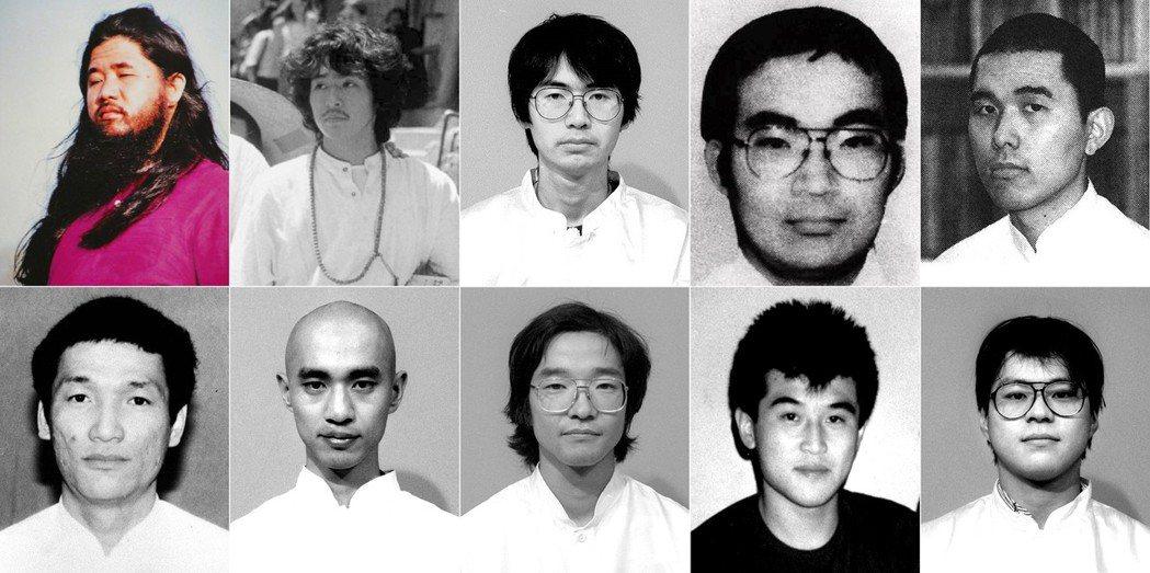 被判處死刑的10名奧姆真理教成員,上排左起:麻原彰晃(教主,首謀)、井上嘉浩(攻...