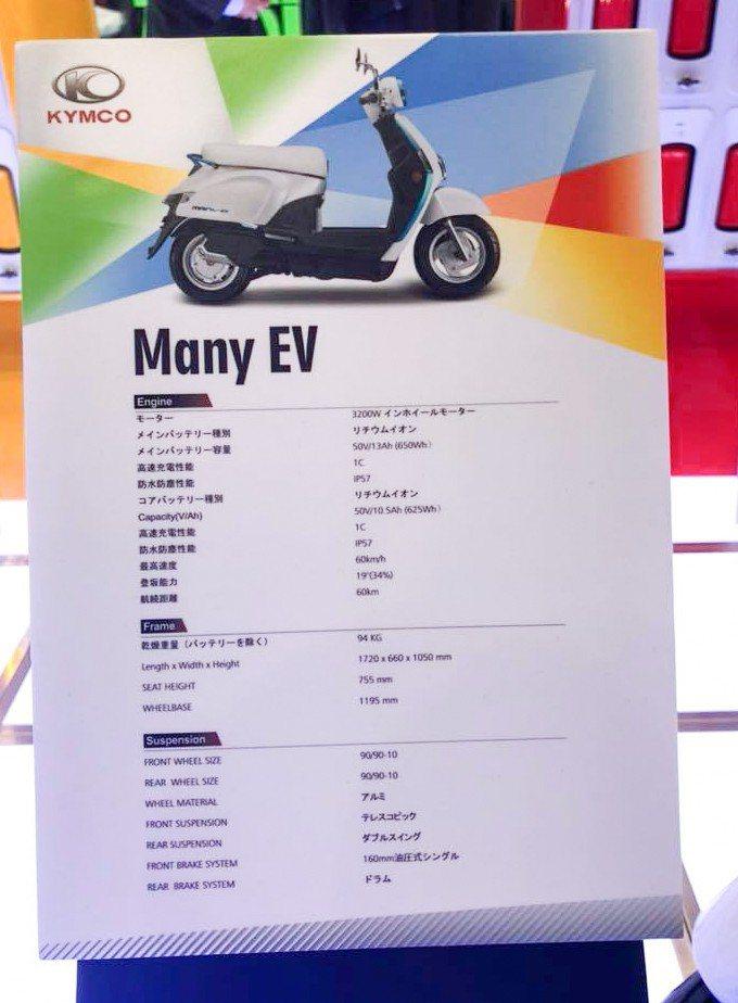 圖為光陽 Many EV 規格表。 記者林鼎智/攝影