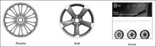 圖一、Porsche、Audi註冊的輪圈設計與Acacia網站上銷售的汽車輪圈 ...