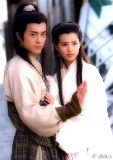 1995年古天樂與李若彤演出「神雕俠侶」。圖/摘自微博