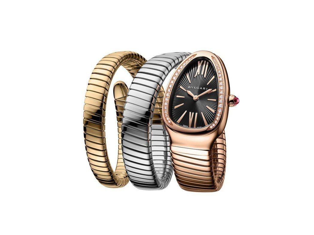寶格麗Serpenti Tubogas三色K金組合腕表,雙圈表鍊結合黃金、玫瑰金...