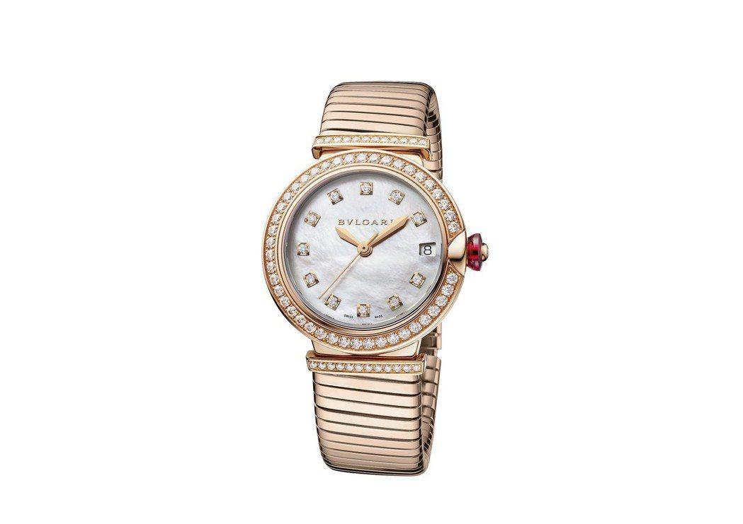 寶格麗Lvcea Tubogas系列玫瑰金鑲鑽腕表,18K玫瑰金表圈鑲嵌鑽石,價...