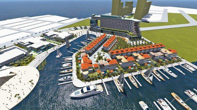 悅苑酒店(Dhawa)未來建地的亞果遊艇安平商港案透視示意圖。 圖/悅榕集團