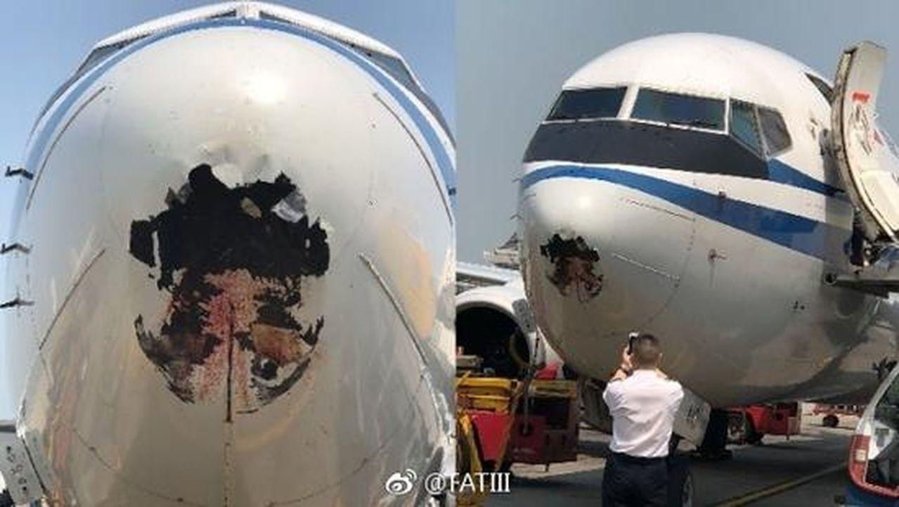 一架中國國際航空CA103客機,昨日中午由天津飛抵香港途中,懷疑機頭撞到飛鳥,致...