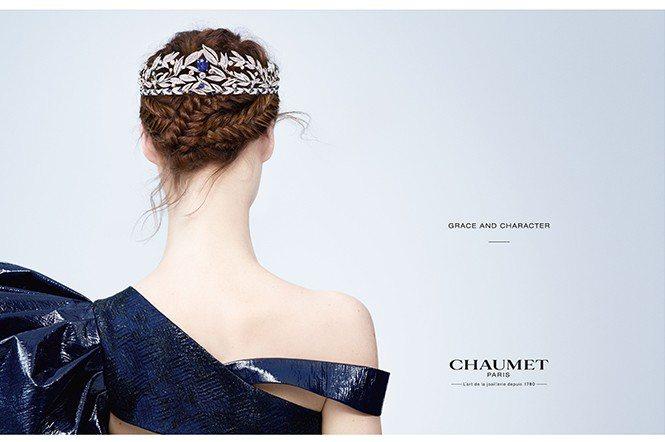 品牌全新廣告,La Nature de Chaumet系列月桂葉冠冕,主石為14...
