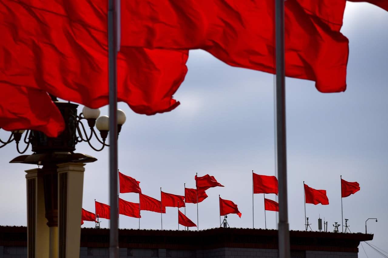 天安門廣場的五星旗。(法新社)