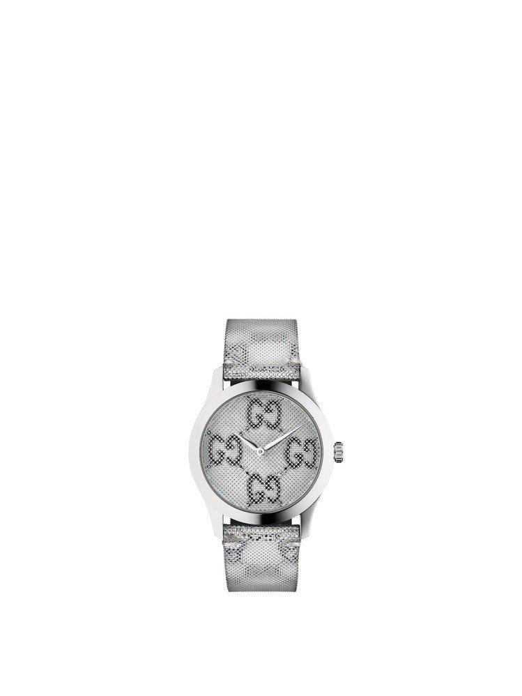 Gucci G-Timless系列腕表,浮動效果GG圖紋表面及表帶、不鏽鋼表殼,...