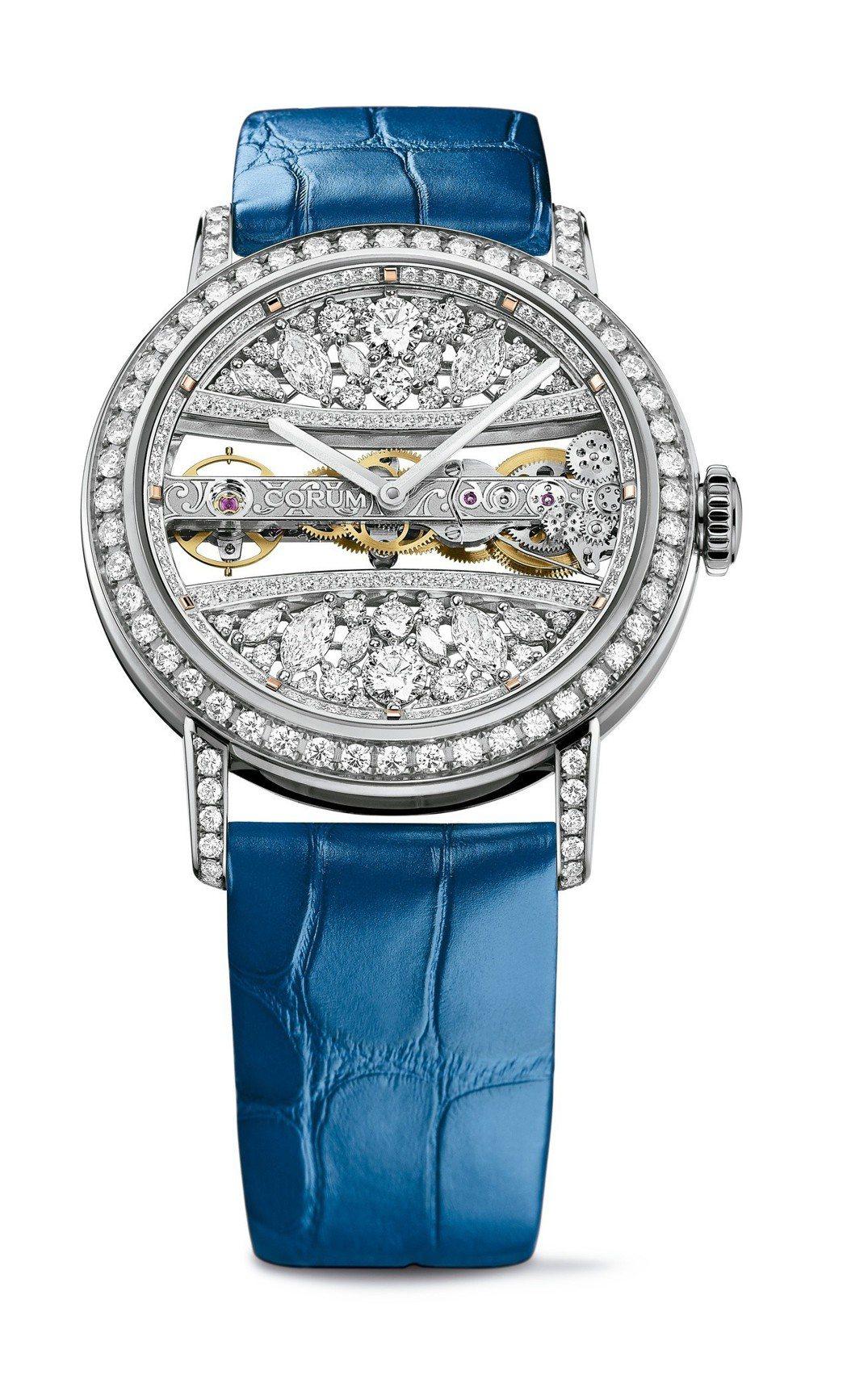 崑崙39毫米金橋圓型腕表,18K白金表殼,鑲嵌6.41克拉鑽石,約376萬8,0...