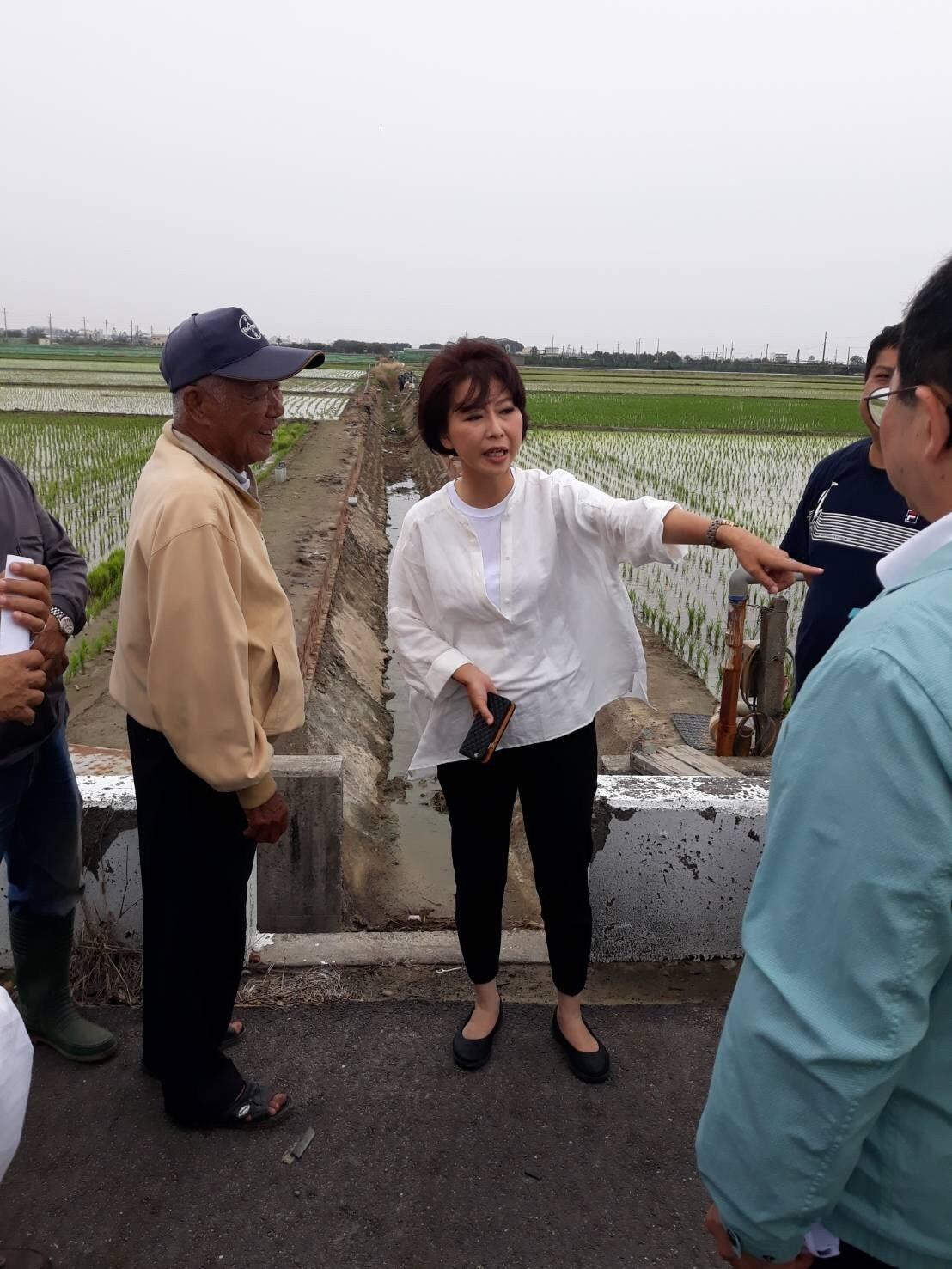 立委陳亭妃(左二)勘察農水路。圖/陳亭妃服務處提供