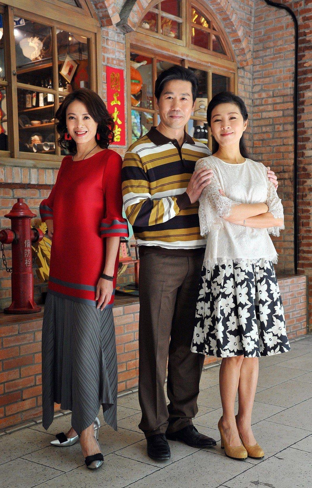 柯淑勤(左起)、羅時豐、方文琳在台視新8點檔「情·份」中上演一夫二妻戲碼。圖/台...