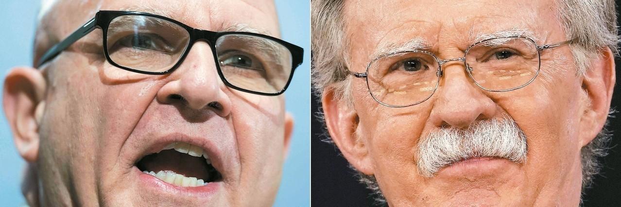 白宮國家安全顧問麥馬斯特(左)確定去職,將由波頓(右)接任。 (法新社)