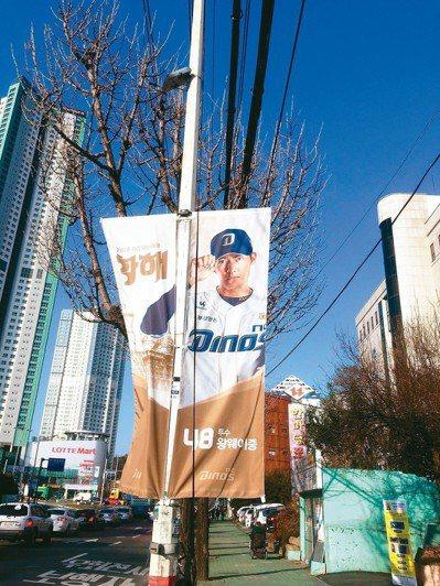 通往球場的路旁插有王維中的旗幟。 記者吳敏欣/攝影