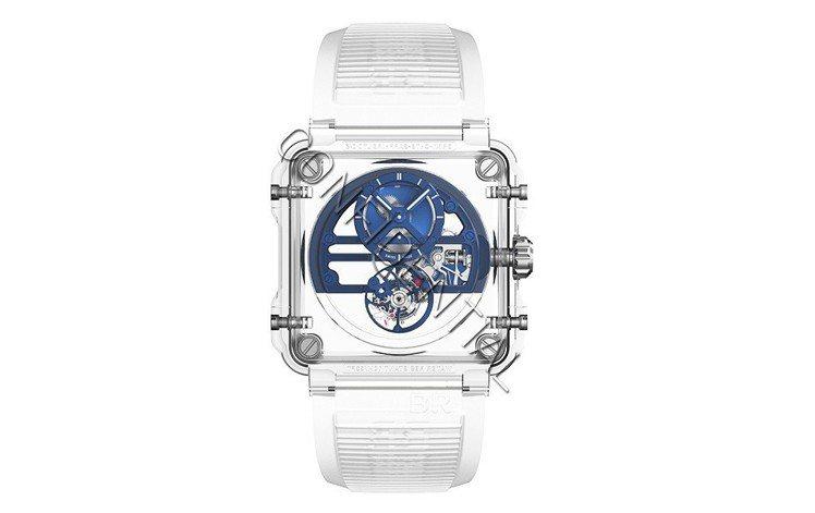 BR X1藍色藍寶石玻璃鏤通陀飛輪腕表,約1430萬元。圖/柏萊士提供