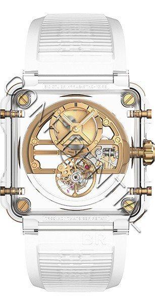 BR X1玫瑰金色藍寶石玻璃鏤通陀飛輪腕表,約1430萬元。圖/柏萊士提供
