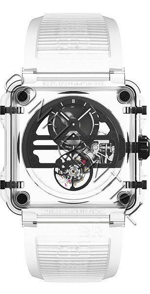 BR X1黑色藍寶石玻璃鏤通陀飛輪腕表,約1432萬9,000元。圖/柏萊士提供