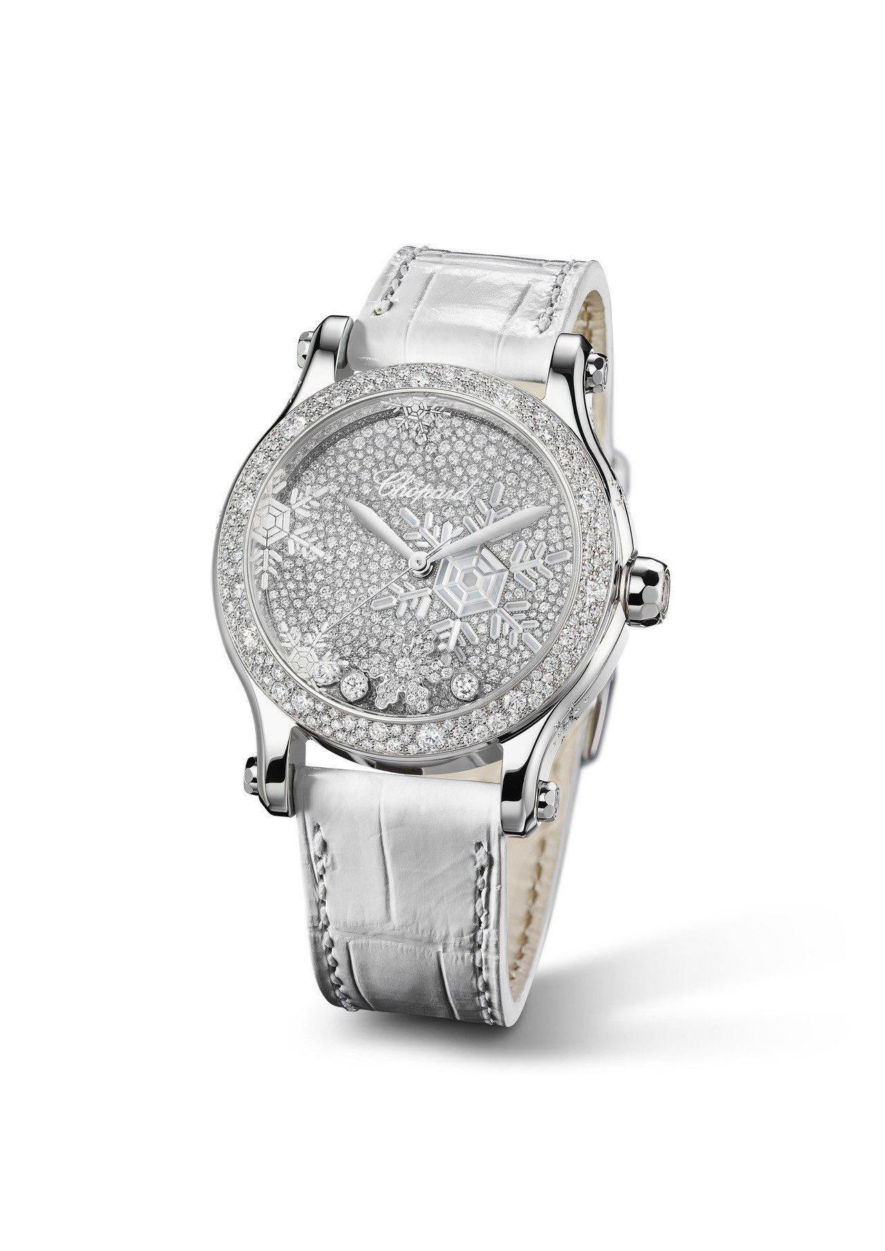 蕭邦Happy Snowflakes腕表,18K白金表殼、表盤為珍珠母貝鑲嵌雪花...