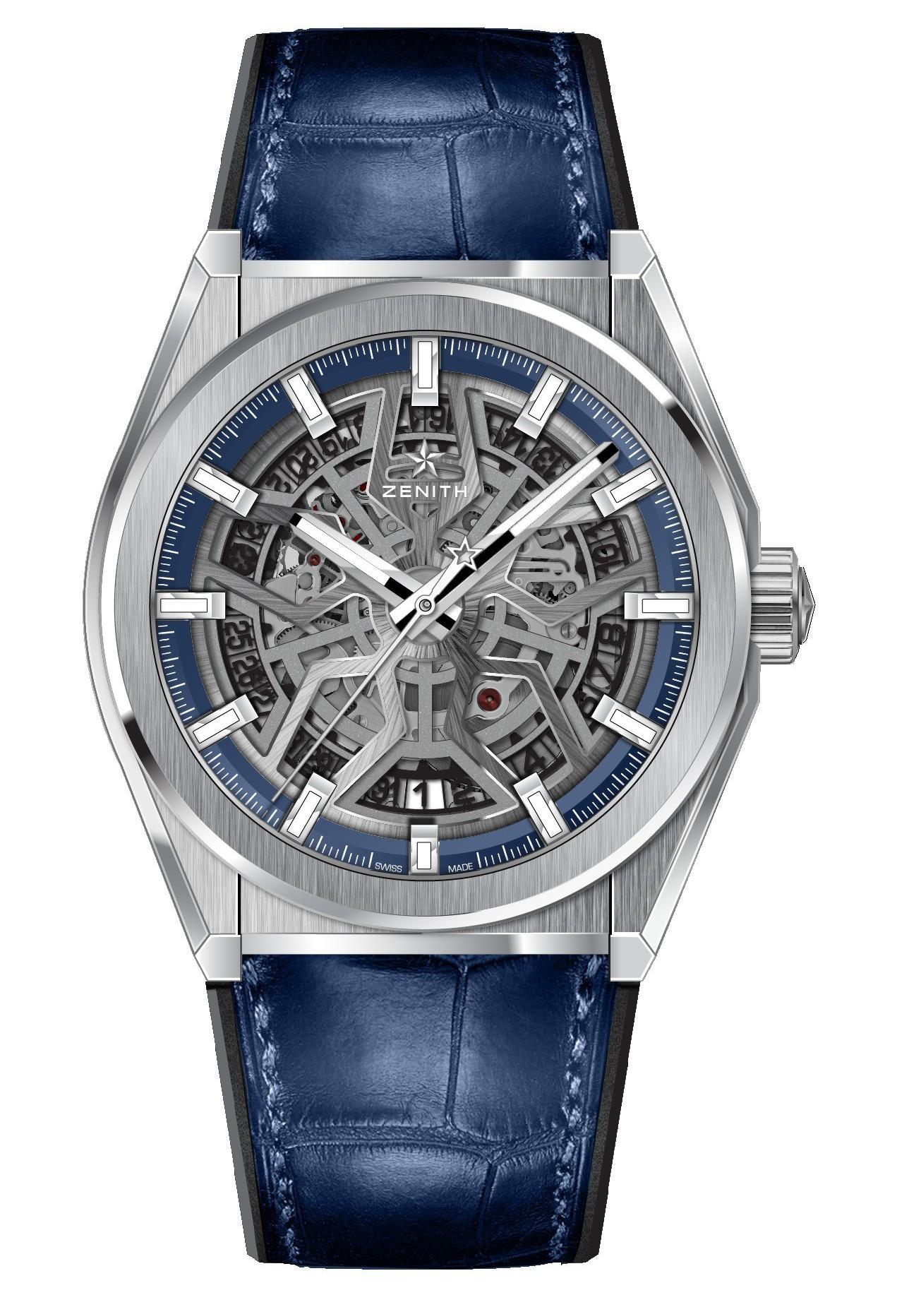 真力時Defy Classic系列腕錶,鏤空面盤及藍鱷魚皮表帶款,約20萬4,0...
