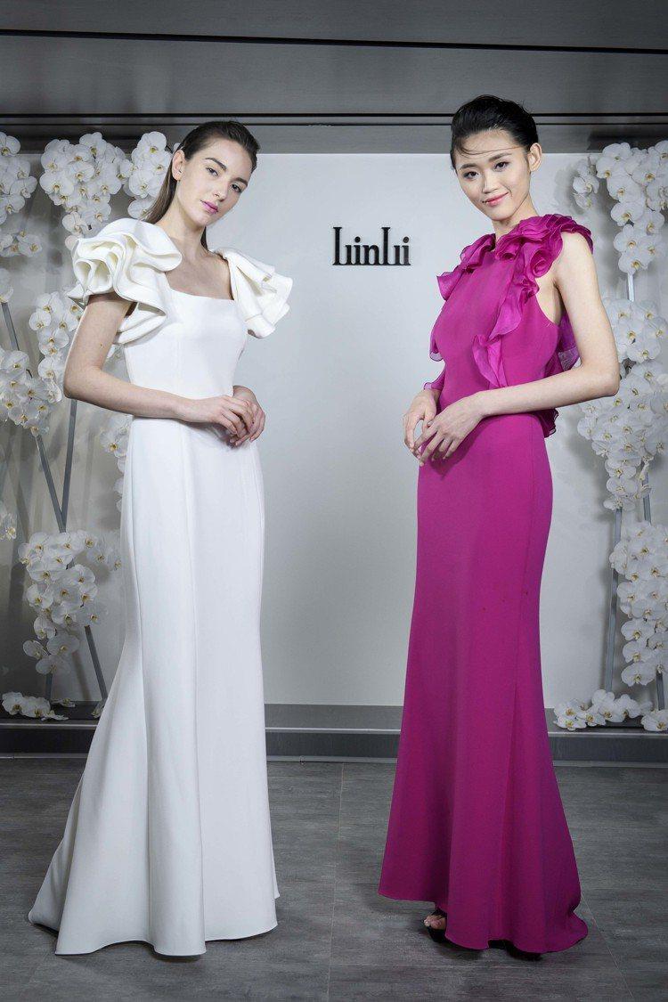模特兒詮釋LinLi Boutique引進的禮服Badgley Mischka。...