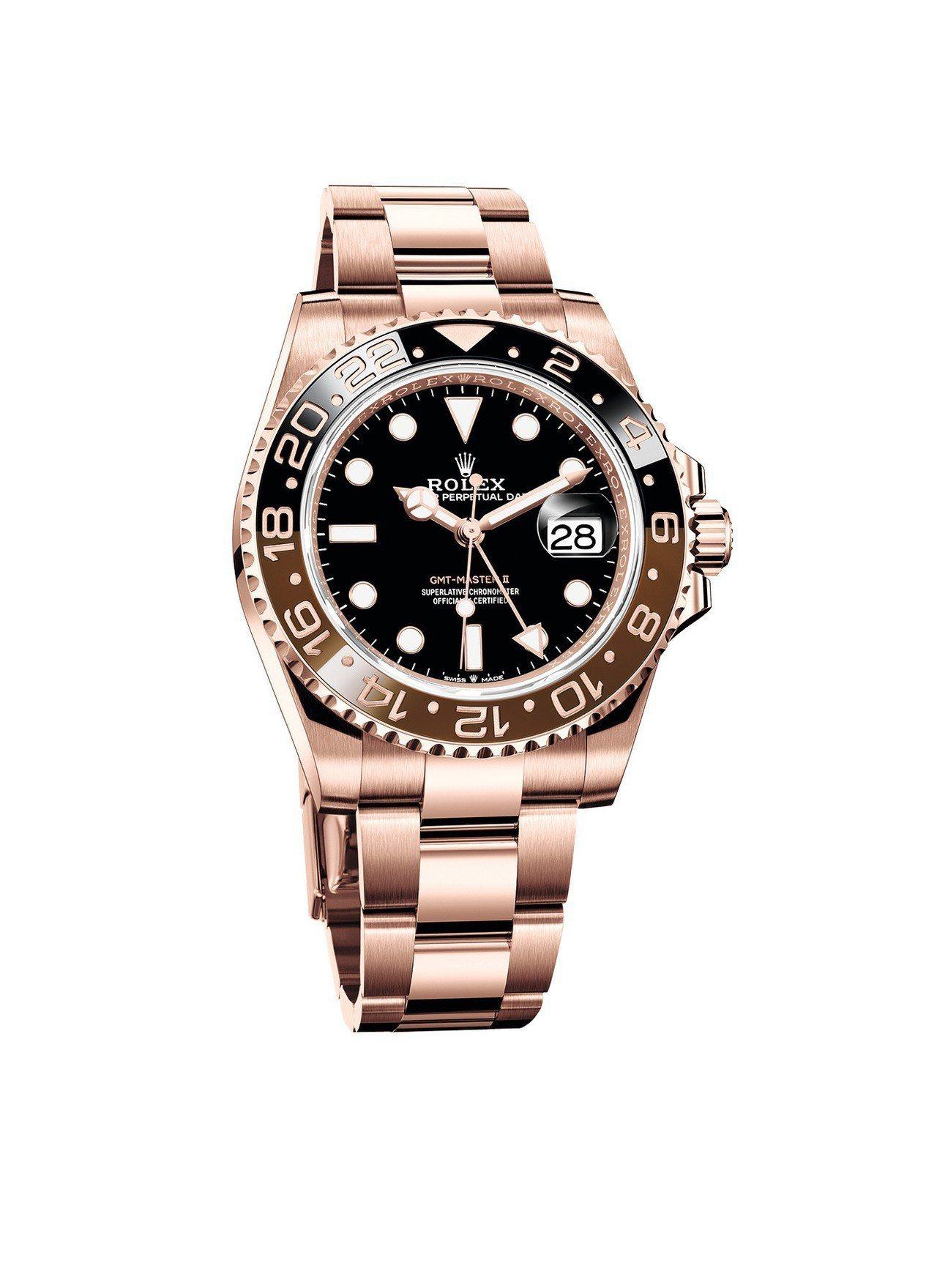 勞力士GMT Mater II腕表,表殼、表鍊皆為永恆玫瑰金,搭載了3285型機...