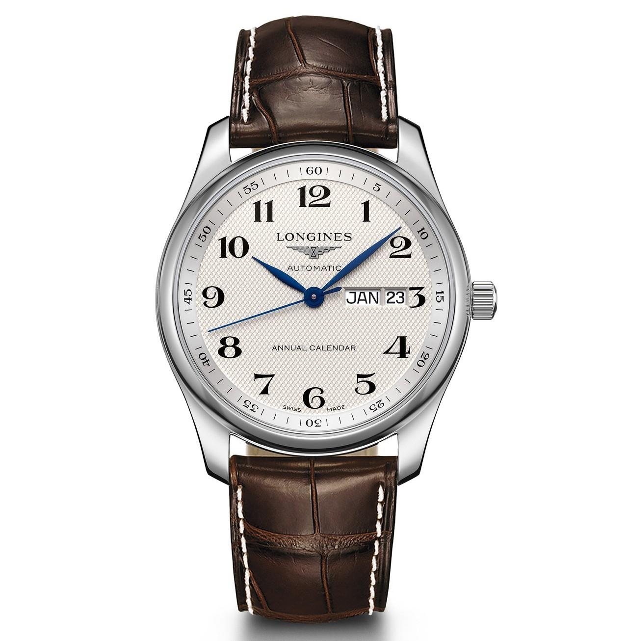 浪琴巨擘系列40毫米不鏽鋼自動上鍊年曆腕表,72,900元。圖/浪琴表提供
