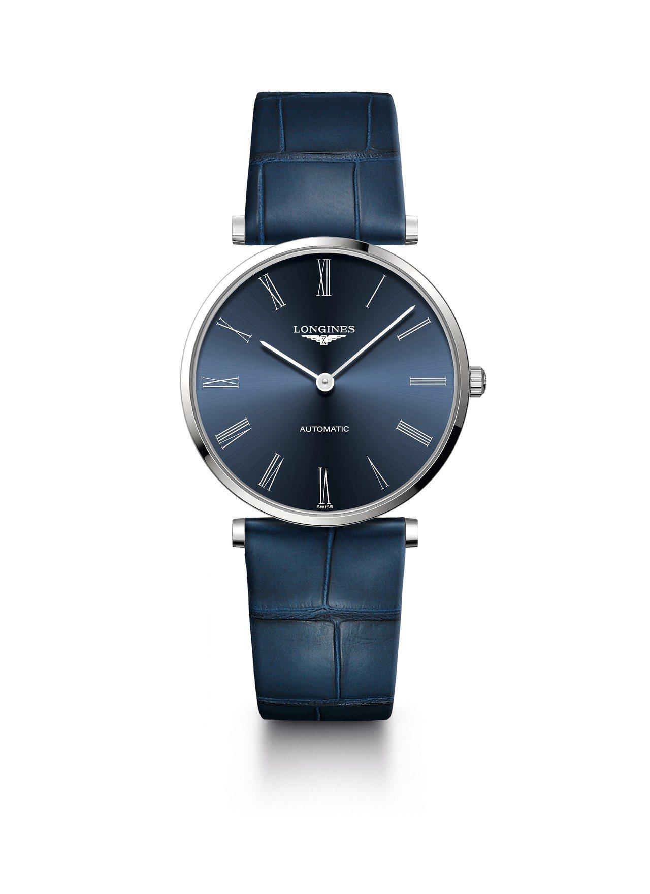 浪琴嘉嵐系列36毫米不鏽鋼藍面自動上鍊腕表,50,500元。圖/浪琴表提供