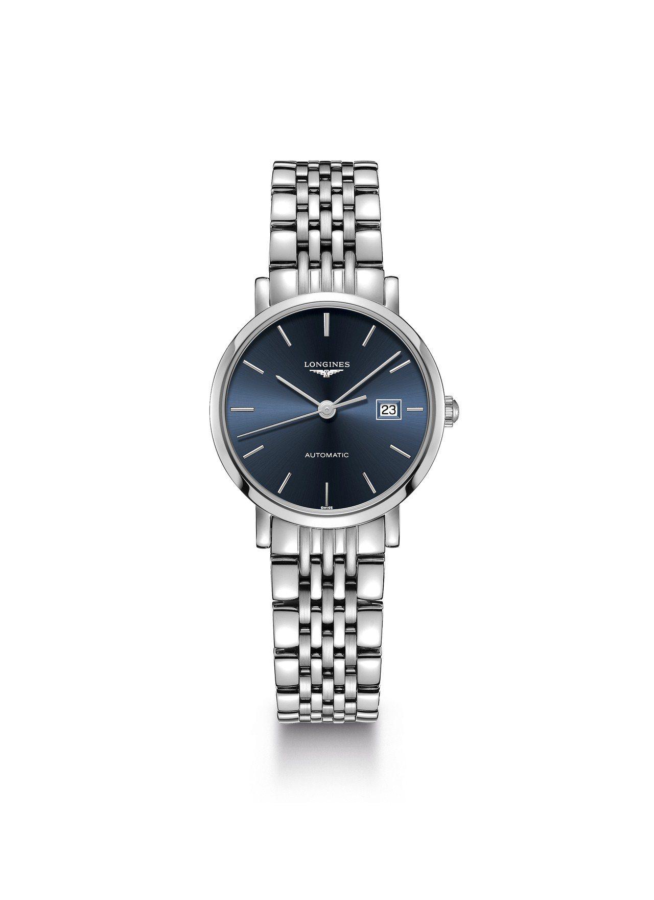 浪琴優雅系列29毫米不鏽鋼藍面自動上鍊腕表,52,200元。圖/浪琴表提供