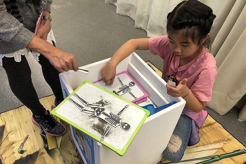 十三行行動博物館-人骨拼圖動手拼。 新北市文化局/提供