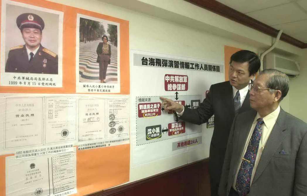 情報員張志鵬(右)記者會上講述1996年因台海飛彈演習被牽連的情報員。 圖/聯...
