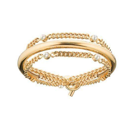 Nora半弧形麻花珍珠手鍊15,400。圖/TAST提供