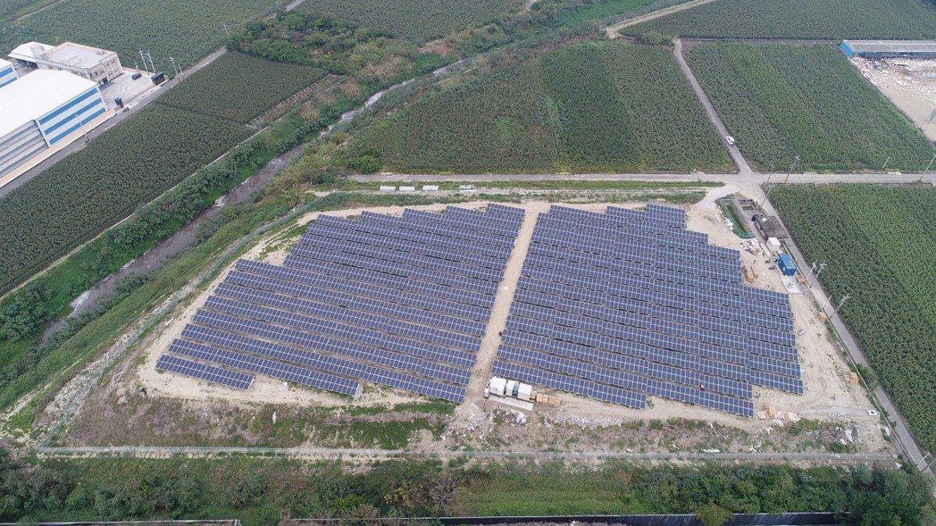 台南市政府104年起開始對已封閉垃圾場設置太陽光電系統,預定今年6月完成9處掩埋...