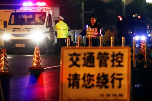 北京街頭26日因北韓領導階層來訪實施封路和交管措施。 (路透)