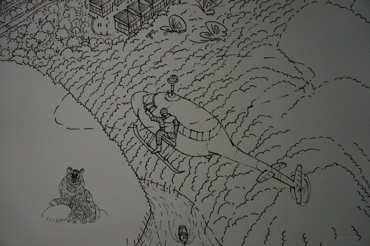 台中市政願景館今開放試營運,現場有幅巨型畫作「視界台中」,藏著創作者對已故導演齊...