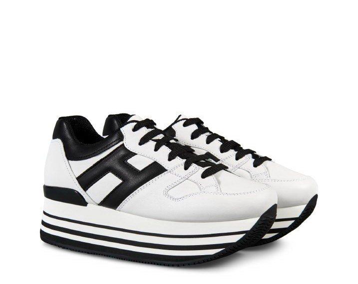 HOGAN MAXI H222黑白撞色繫帶休閒鞋,20,600元。圖/迪生提供