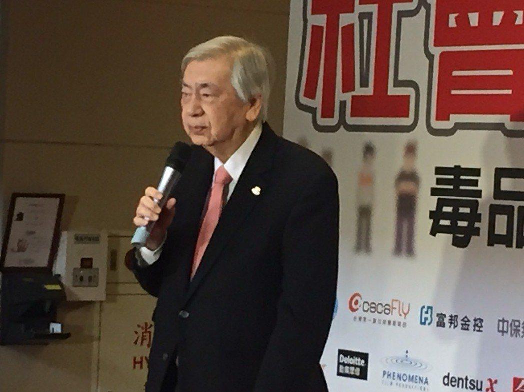 公益廣告協會創會理事長賴東明參加法務部舉辦的反毒活動。 記者王聖藜/攝影