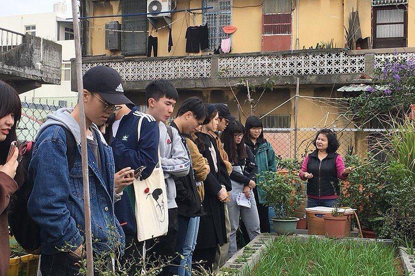 黃琬雯帶領學生去調查基地。 元智大學/提供