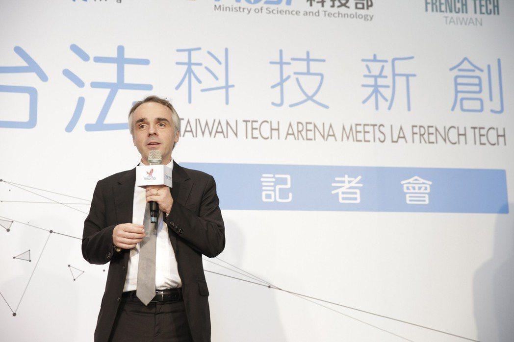 法國在台協會紀博偉主任(Benoît Guidée)於台法科技新創交流活動記者會...