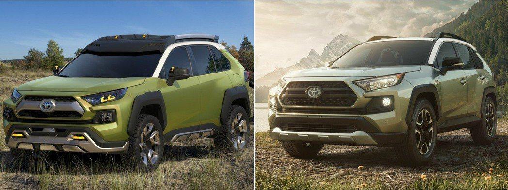 左圖為Toyota FT-AC Concept,右圖為新世代Toyota RAV4。 摘自Toyota