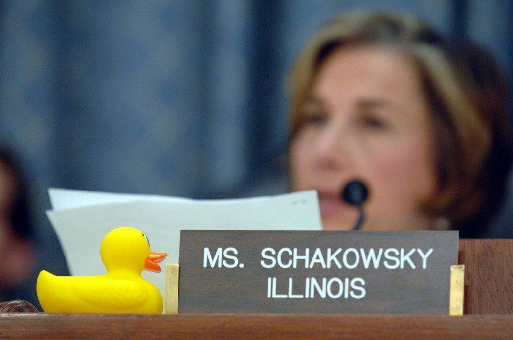 美國國會舉行玩具安全議題的聽證時,黃色小鴨曾亮相。美聯社