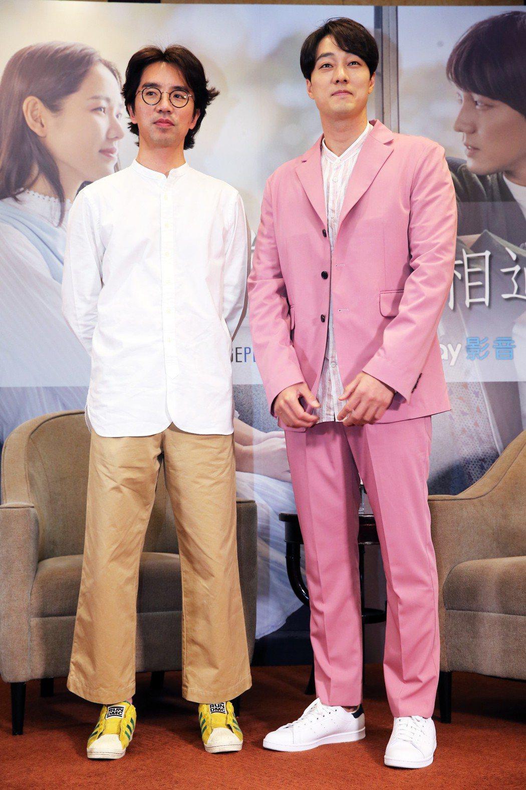 韓星蘇志燮和導演李章焄27日來台,為電影「雨妳再次相遇」宣傳。記者徐兆玄/攝影