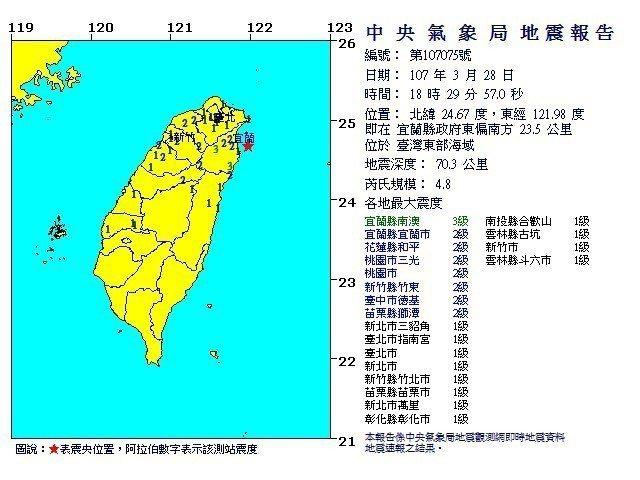 宜蘭規模4.8地震,南澳震度3級。圖/氣象局提供