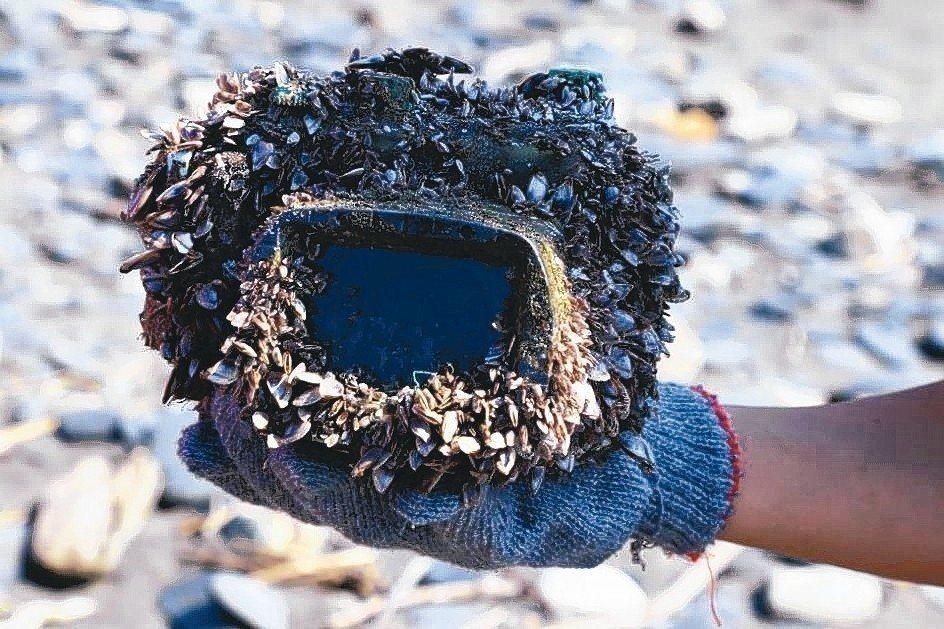 蘇澳岳明國小師生27日到港邊海灘撿垃圾淨灘,撿到一台已長滿藤壺青苔、安裝防水殼的...