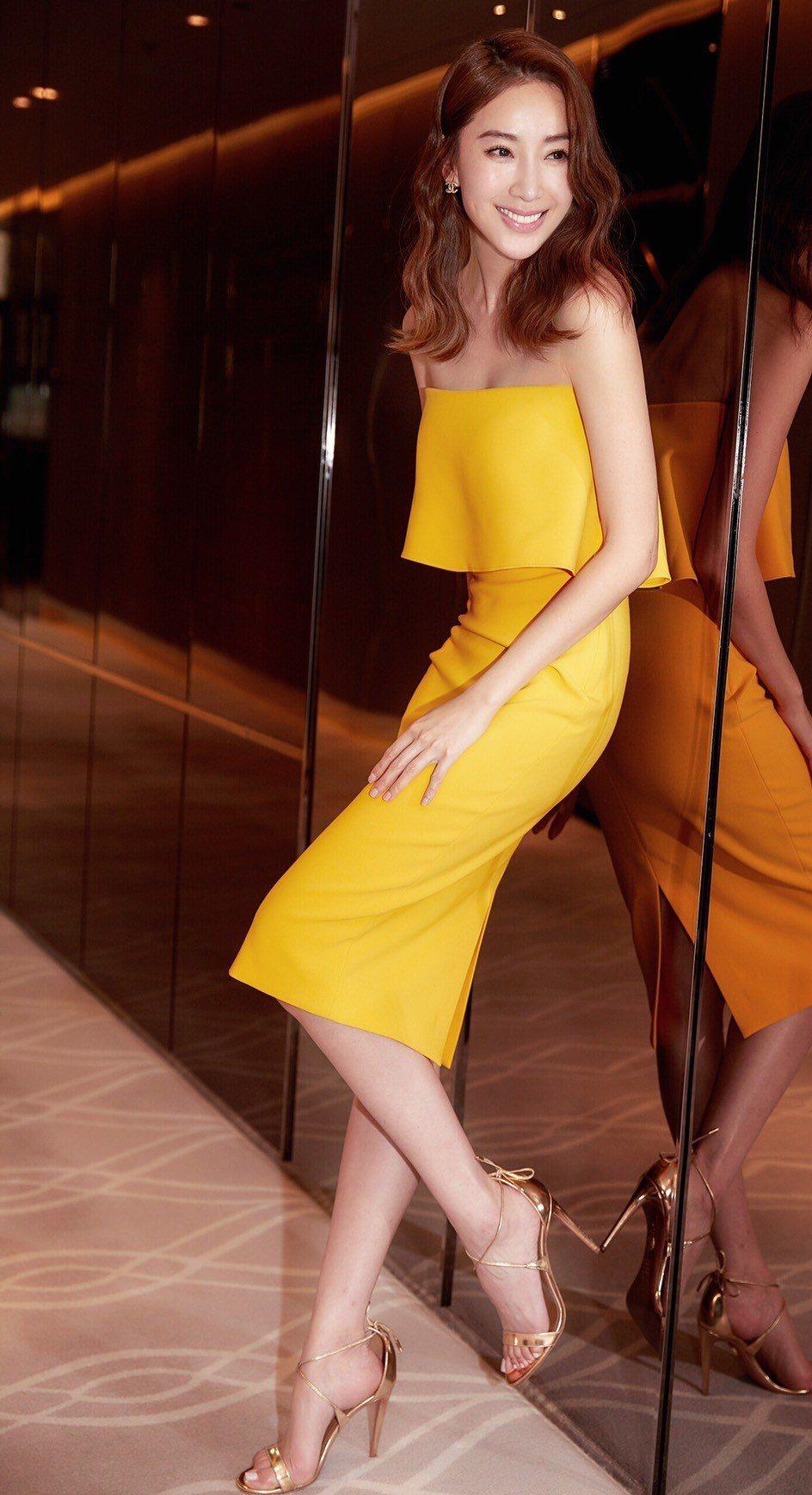 隋棠以一襲黃色小禮服出席「動物系戀人啊」發布會。圖/最大國際娛樂提供