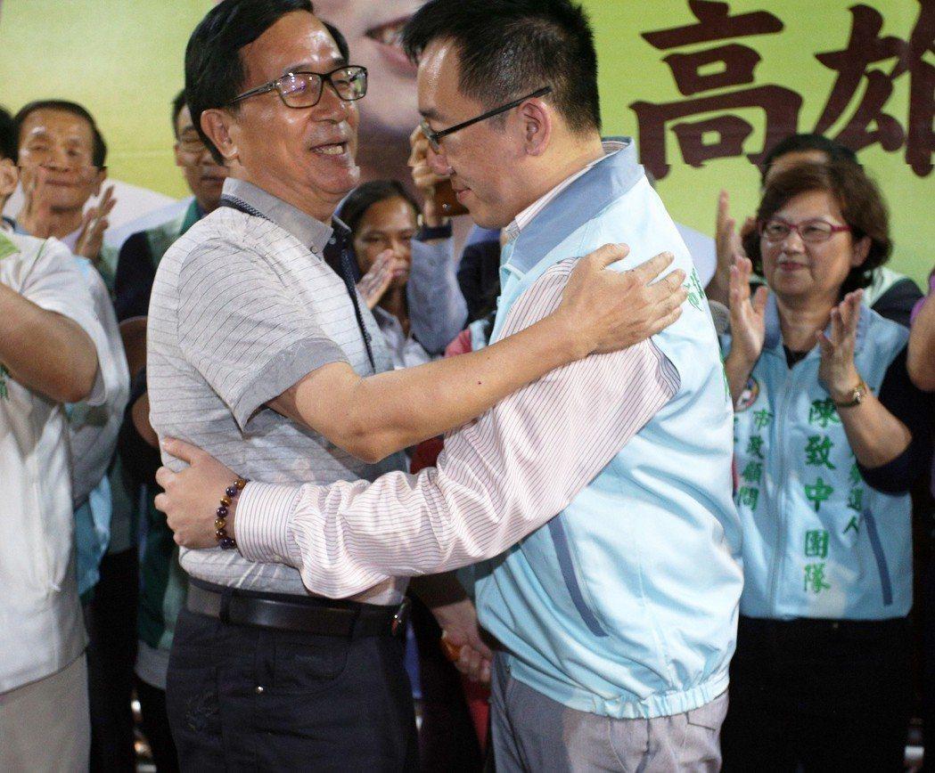 陳水扁日前幫兒子陳致中站台。本報資料照片