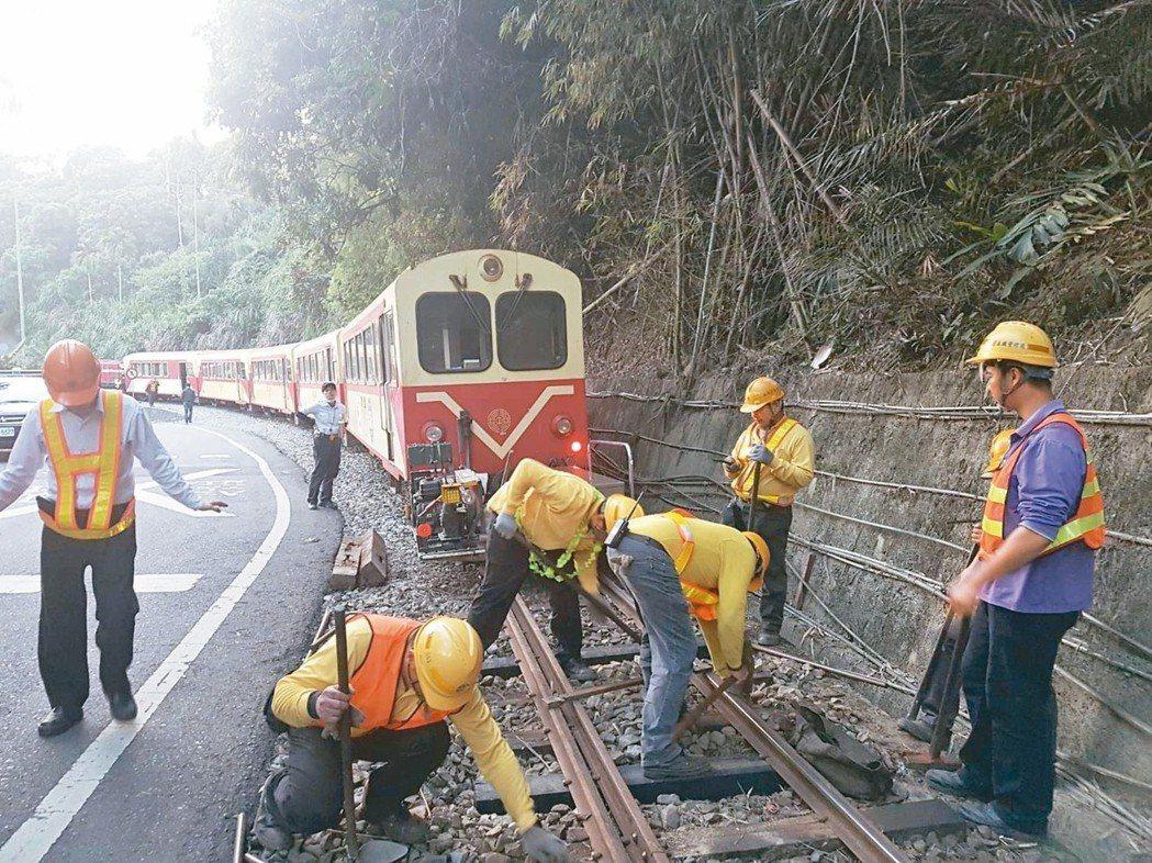 阿里山森林鐵路在卅九天內出軌四次,引發各界關切。 本報資料照片