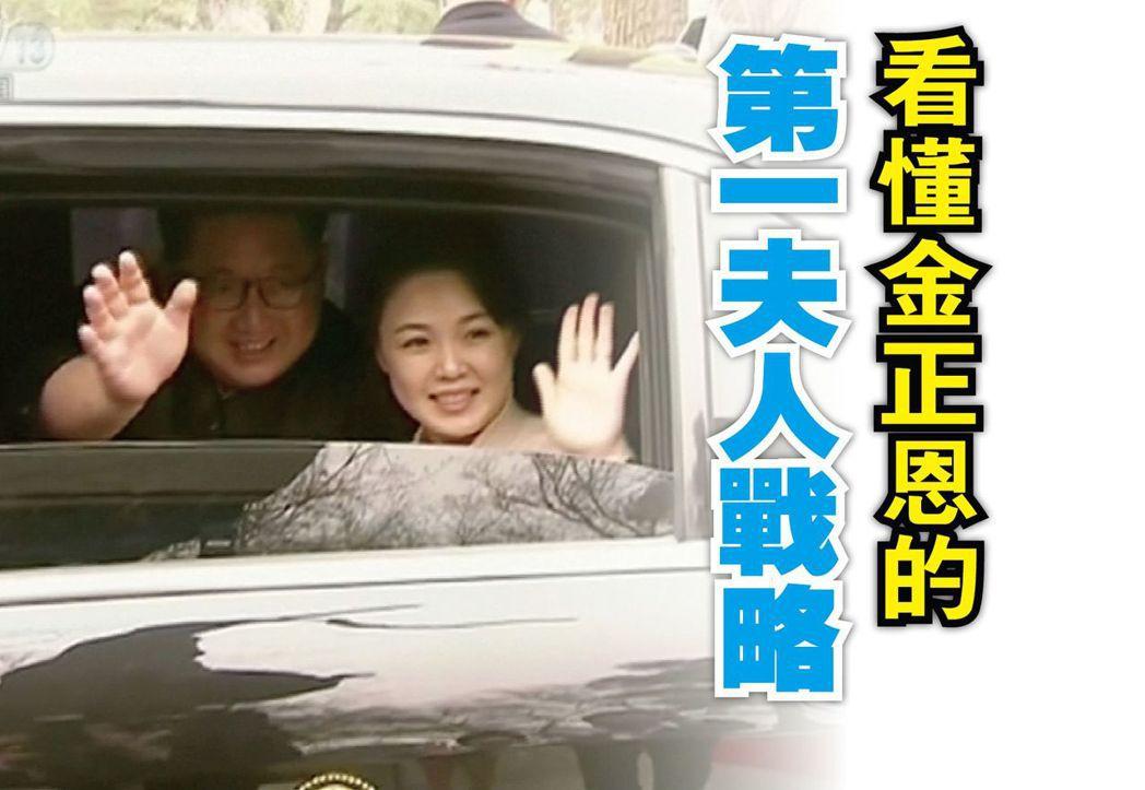 北韓領導人金正恩與妻子李雪主。(路透)