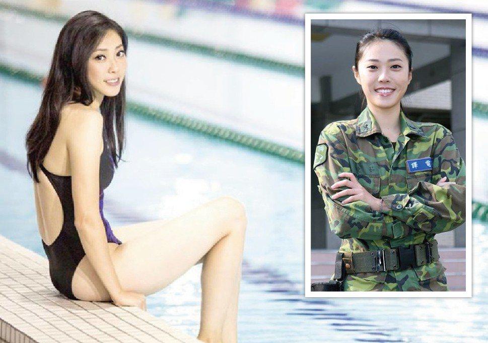 104年國防部形象月曆的「七月小姐」王睫茹下士,原本曾是游泳國手。圖/翻攝自青年...